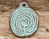 Rustic Patina Two Sided Labyrinth Disc Casting Pendant Charm, Mykonos Casting Beads - M34 - X0951
