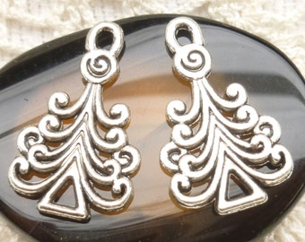 Filigree Swirl Christmas Tree Charms - Antiqued Silver Unique (6)