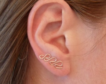 Swirl Earrings, ROSE Pink Gold OR Gold. PAIR. Can be worn as ear sweep or dangle. Hypoallergenic.