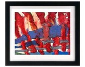 11 x 8.5 Patriotic Abstract Art Print - Red White Blue - Signed & Numbered