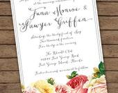 Modern Calligraphy Vintage Corner Floral Wedding Invitation