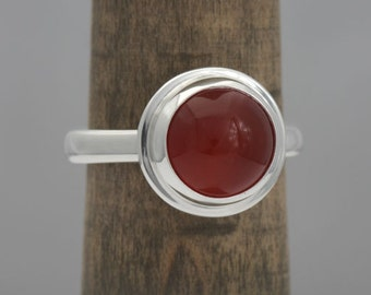Carnelian ring, , size 6 3/8 argentium sterling silver and carnelian ring, # 507.