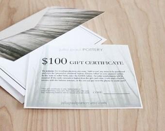 100 Dollar Gift Certificate for Julia Paul Pottery, gift card for modern handmade pottery.