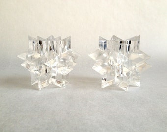 Sale! Vintage plastic candle holders in a crystal like shape.  Holidays are near.