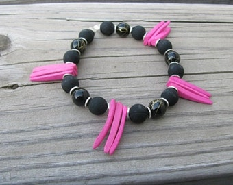 JEWELRY SALE-  BOLD Bracelet Black, and Hot Pink Bracelet- Coco Wood Tusk Beaded Bracelet