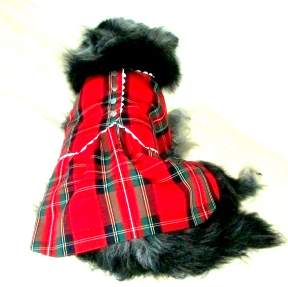 Pet Clothing Dress for Small Dog - Bright Red Plaid with Rick-Rack & Buttons, Customize - Maltese