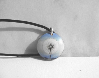 Small Necklace Dandelion Necklace, Short Leather String Necklace, Hand Painted Pendant Woodcraft, Dandelion Art, Small Painting, Artdora