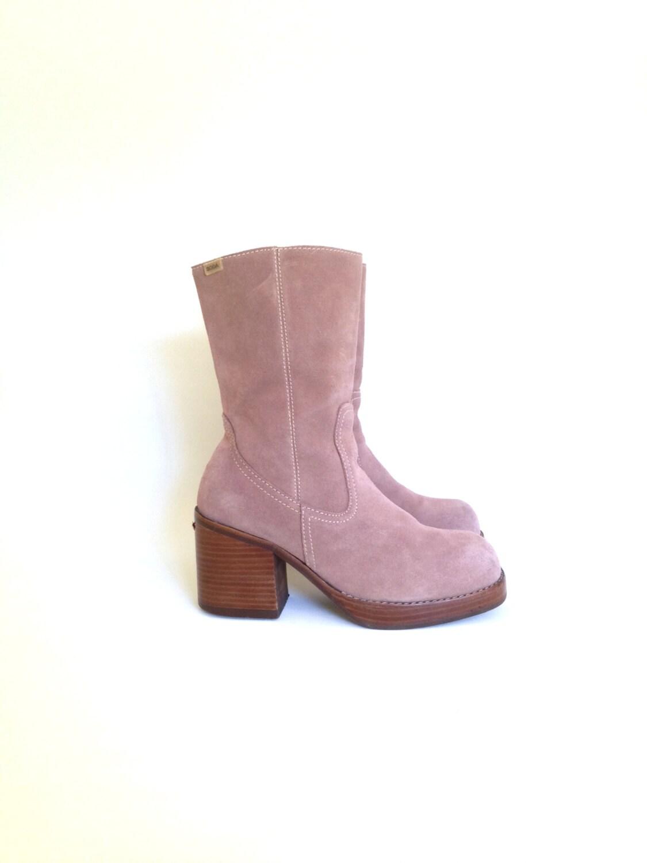 pink leather boots 8 platform boots 8 1990s platform