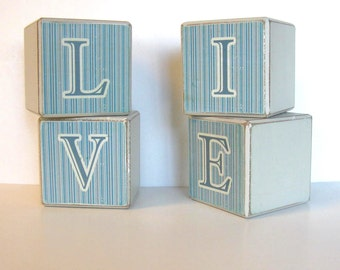 SALE, Vintage Large Wood Alphabet Blocks, Home and Living, LIVE, Home Decor, gift idea