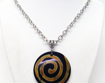 Round Black Spiral Accent Resin Pendant Necklace