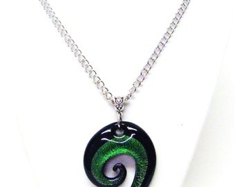 Black & Green Question Mark Fused Glass Pendant Necklace