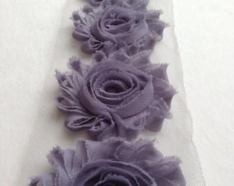 Charcoal Grey Chiffon flower shabby frayed rosette