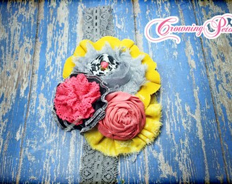 M2M Giggle Moon, Coral Pink, Mustard Yellow, Grey, Black Hair Bow, Fabric Flower Headband, Hair Accessories, Joy & Laughter Hair Piece