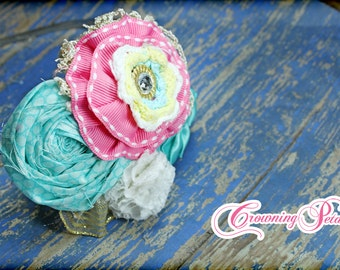 Aqua, Hot Pink Headband, Gold Hair Bow, M2M Mud Pie Under the Sea, Fish Hair Accessory, Turquoise Fabric Flowers, Accessories, Hair Piece
