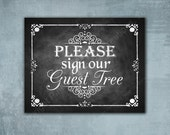 Chalkboard Style GUEST TREE printed Wedding sign - Please Sign Our Guestbook - Professionally Printed - Rustic Rose Design