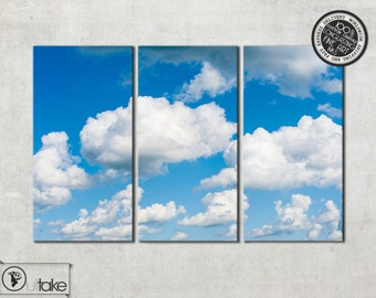 Photo canvas art - Clouds in the Sky - Triptych wall art - Nature photography - Wall decor - ready to hang - interior wall art