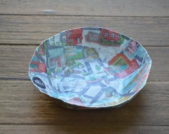 Handmade Paper Mache Bowl of Glens Falls, New York, Adirondacks Tourist Map, Papier Mache, Decorative Bowl, Upcycled Home Decor