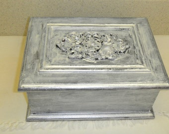 """wood box that is pearlalized to look like metal  8 x 6"""""""