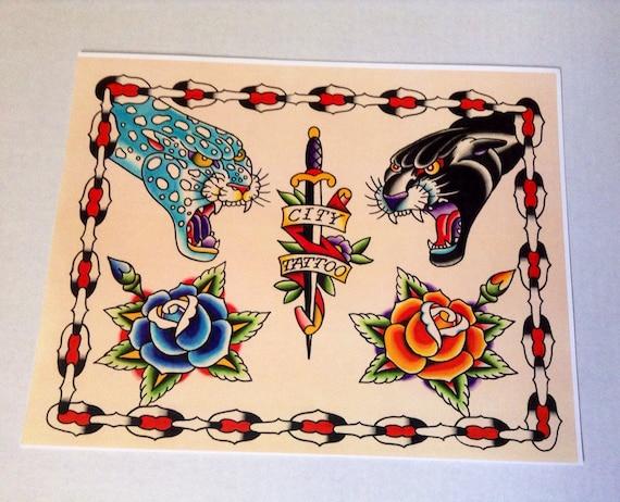 Items similar to Tattoo Flash PRINT. Handmade. Traditional ...