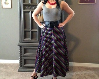 50s Shimmer Taffeta Rainbow Chevron Stripe Circle Skirt