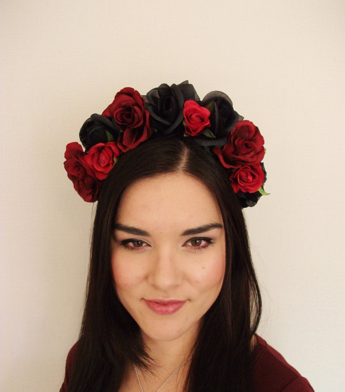 Black Flower Crown Gothic Flower Crown Black Flower: Order For Zara Red Black Rose Flower Crown Floral