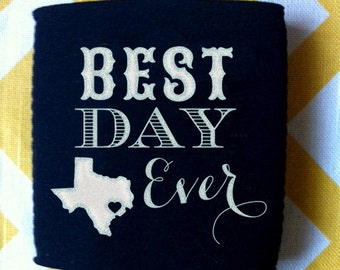 Best Day Ever State Wedding can coolers, wedding favor with floral banner, choose your state wedding can coolies (100 qty)