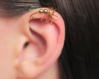 No Pierce Cartilage Ear Cuff Khaki Gold Dragonfly/ Helix ear cuff/ ohr fake faux piercing/ ohrklemme ohrclip/helix manschette/false piercing