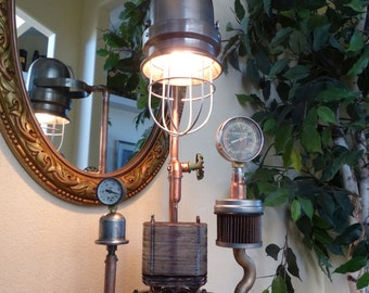 Steampunk'd, Lamp Art, Gauges, Copper, Brass, Lamp, Edison, Lighting, Gears, Rivets, Art, Victorian, MasterGreig - MG-324