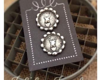 Deer Head Silhouette Wax Seal Earrings.