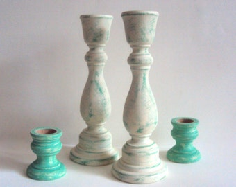 Shabby Distressed Candlesticks - Spring Decor - Shabby Cottage Chic White and Teal Candle Holders - Turquoise Candle Sticks - Easter Decor