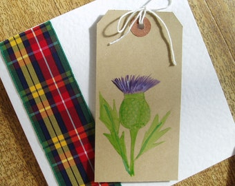 Tartan thistle card, blank for any occasion
