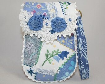 Embroidered Pouch / purse/ wristlet - Blue crazy patchwork and lace with vintage linens and lace panels hand stitched