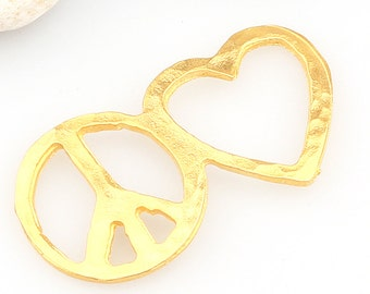Gold Love and Peace Connector, Love Connector, Peace Connector, 1 piece // GPC-271