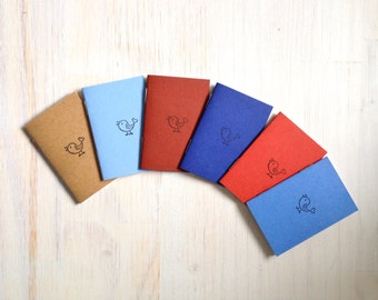 Tiny Journals: Notebooks, Bird, Kids, Cute, Favors, Blue, Red, Small Notebooks, Unique, Gift, Stocking Stuffer, For Him, For Her, Hostess