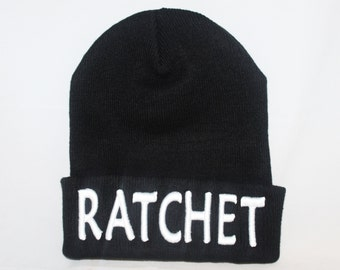 RATCHET Embroidered beanie - Cuffed Knit Beanie - RATCHET Beanie - embroidered RACHET beanie