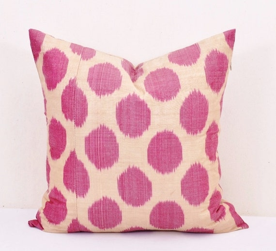 Ikat Throw Pillows Etsy : Hot Pink throw pillow ikat Polka dots by EasternHomeDecor on Etsy