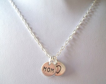 Hand Stamped Mom Necklace w/ Heart -- Sterling Silver, Mother's Necklace, Mother's Day, I Love Mom, Keepsake -- MADE TO ORDER