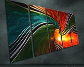"""Large Original Metal Wall Art Modern Abstract Painting Sculpture Indoor Outdoor Decor """"Rotating Colour"""" by Ning"""