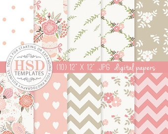 Pink Beige Shabby Chic Digital Scrapbook Papers - Floral Digital Paper Pack - Digital Backgrounds - Chevron Digital Paper - DP130