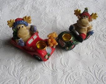 Vintage Christmas Ornaments - Reindeer in Car Candleholder Pair  - Hard Resin Christmas Ornaments - Christmas Decor