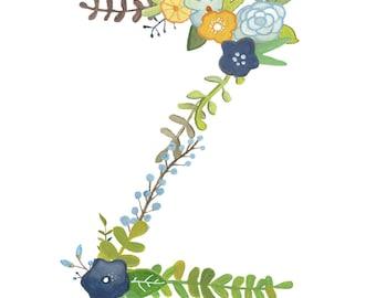 Z - Floral Letter Illustration - Typography Print
