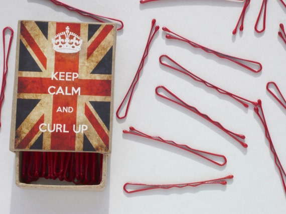 Keep Calm And Curl Up Bobby Pins Box with Red Hair Pins Pastel or Mini Black, Brown, Blonde or Pink Bobby Pins Union Jack UK British