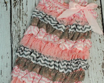 Grey and Light Pink Chevron - Satin and Lace Petti Rompers - You Choose the Size! Birthday Girl Outfit - Photo Shoot - Romper for Baby Girls