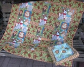 Baby Quilt - Jungle Babies Quilt with Monkeys and matching reversable receiving blanket