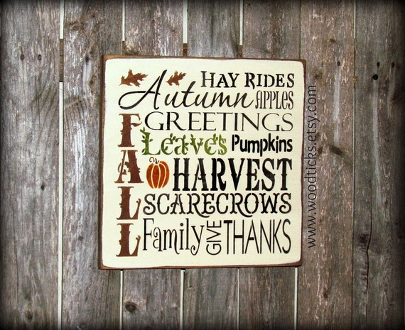 Fall Harvest Wooden Sign Autumn Decor Typography Sign