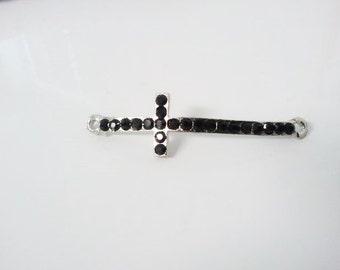 Black Rhinestone sideways cross
