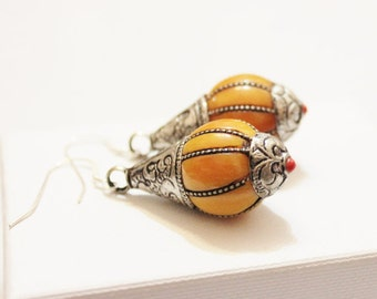 Tibetan Copal Earrings,Ethnic Earrings, Orange Earrings