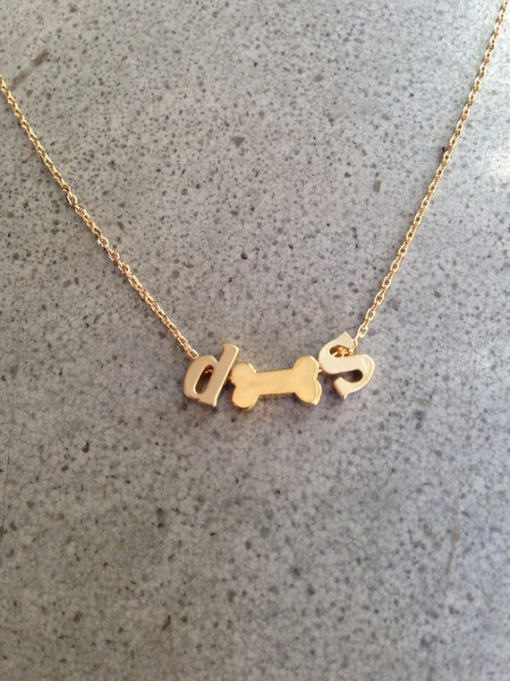 Initials and dog bone necklace, personalized, personalized necklace, pet necklace, custom jewelry, Personalized jewelry