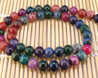 """Full One Strand Round Rainbow Agate Beads ----- 8mm ----- about 47Pieces ----- gemstone beads--- 15"""" in length"""