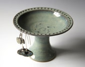 Pedestal Earring Bowl #3 in Lagoon glaze. AS IS, Discounted Flawed Second. View all photos and read listing for details